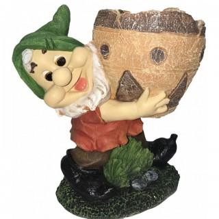 Гном с кашпо Садовая фигура