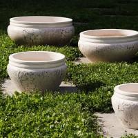 Уличные горшки для цветов из шамотной глины