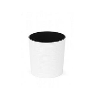 ГОРШОК МАЛЬВА Белый джуто с вкладкой 19*19,5 см.