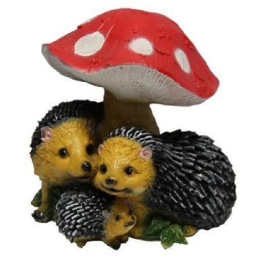 Силиконовая форма Семейка ежей под грибом для изготовления садовых фигур своими руками