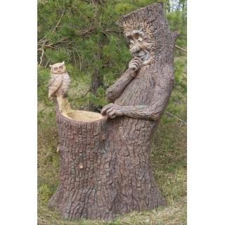 ПЕНЬ С СОВОЙ Цветник два кашпо Садовая скульптура