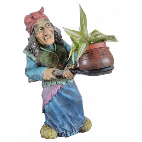 Садовая фигура Баба Яга с кашпо по акции