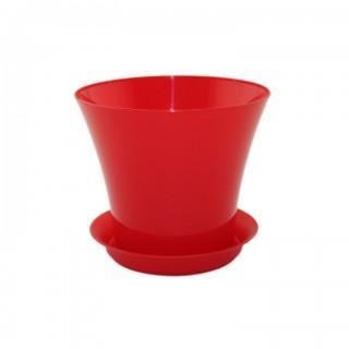 Горшок Сити Красный горшок с поддоном для фиалок и суккулентов