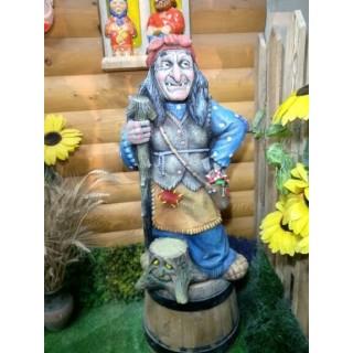Садовая фигура Баба Яга с пеньком