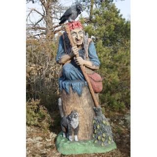 БАБА ЯГА В СТУПЕ Садовая скульптура