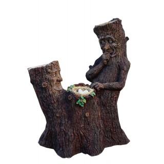 Садовая скульптура ЦВЕТНИК Пень с гнездом