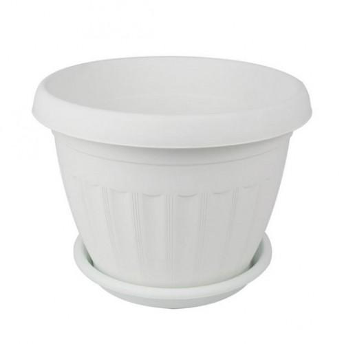 Афродита Белый горшок с поддоном пластиковый купить по выгодной цене